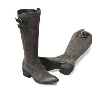 Born Basil Buckled Knee High Boot Gray Suede.